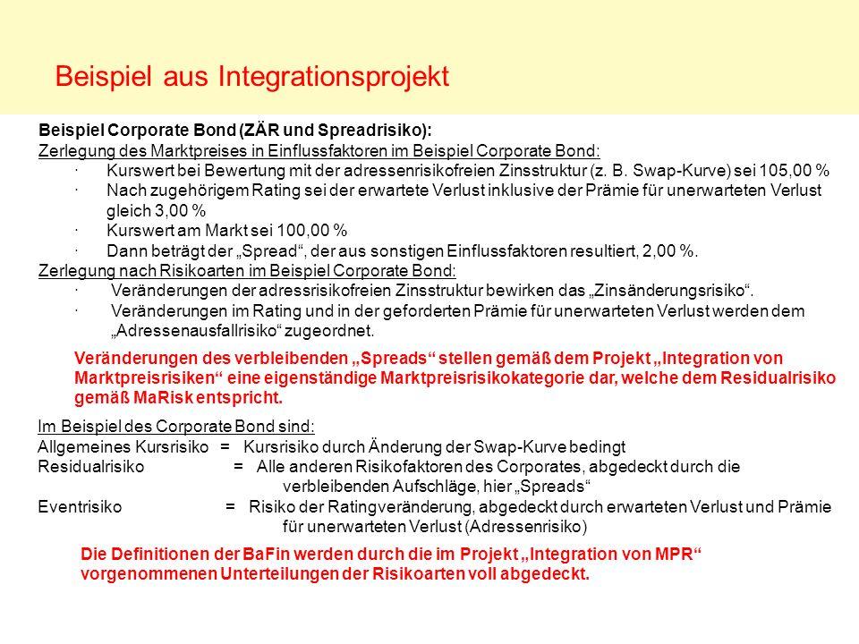 Beispiel aus Integrationsprojekt Im Beispiel des Corporate Bond sind: Allgemeines Kursrisiko = Kursrisiko durch Änderung der Swap-Kurve bedingt Residu