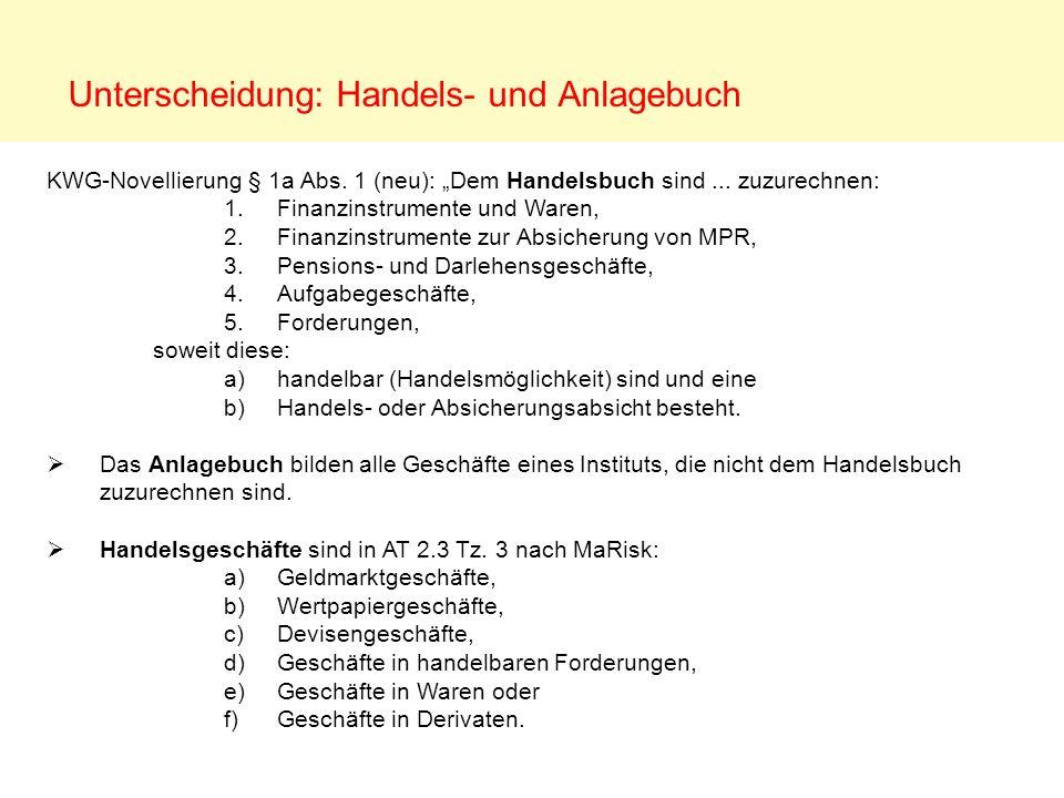 Unterscheidung: Handels- und Anlagebuch KWG-Novellierung § 1a Abs. 1 (neu): Dem Handelsbuch sind... zuzurechnen: 1. Finanzinstrumente und Waren, 2. Fi