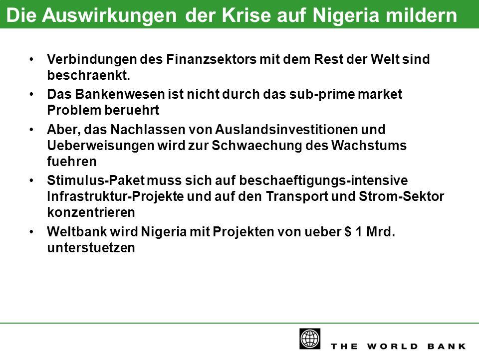 Die Auswirkungen der Krise auf Nigeria mildern Verbindungen des Finanzsektors mit dem Rest der Welt sind beschraenkt. Das Bankenwesen ist nicht durch