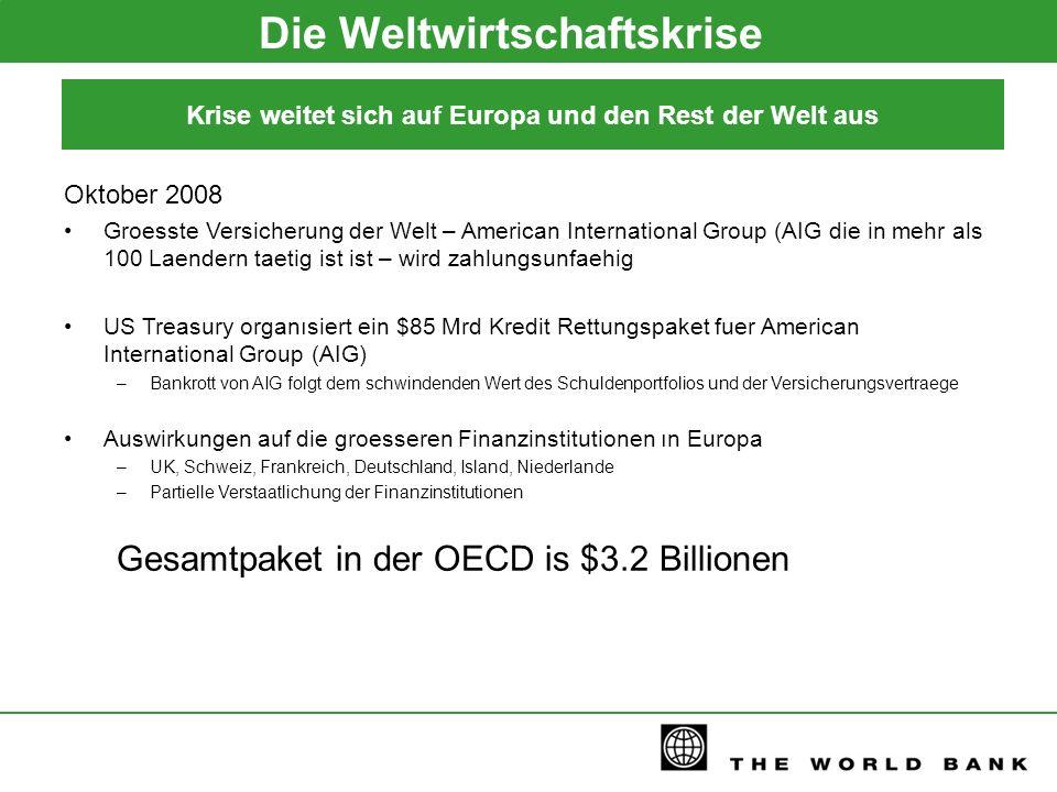 Die Weltwirtschaftskrise Oktober 2008 Groesste Versicherung der Welt – American International Group (AIG die in mehr als 100 Laendern taetig ist ist –