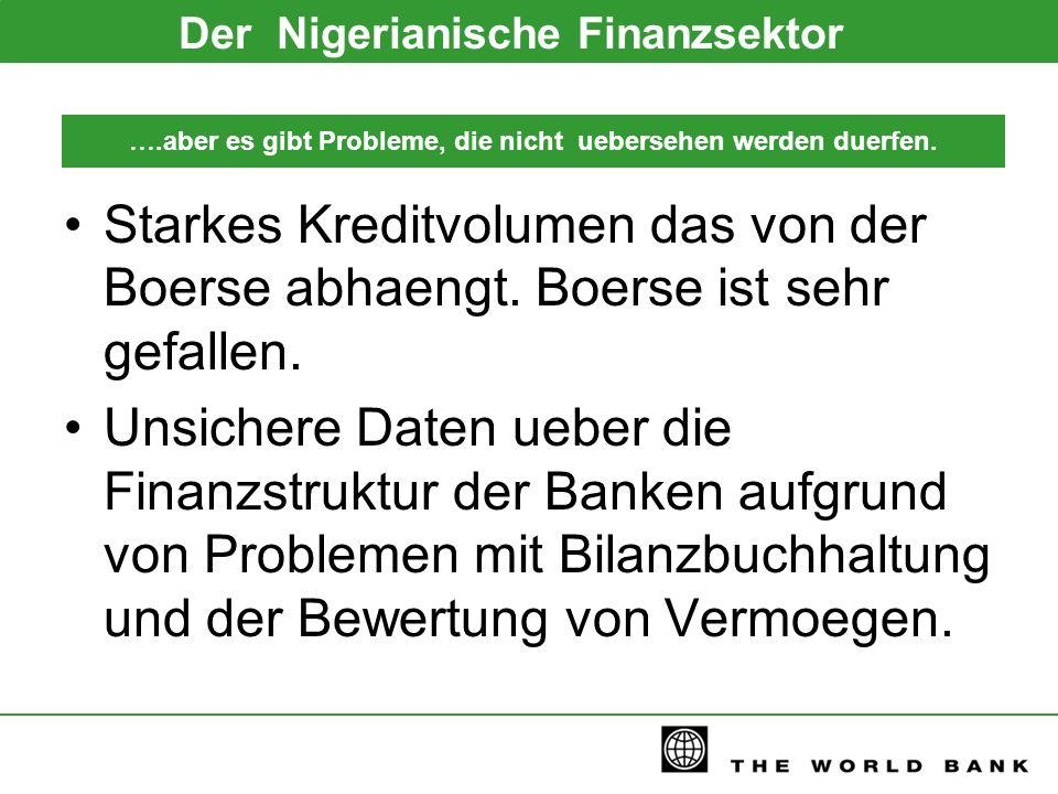 ….aber es gibt Probleme, die nicht uebersehen werden duerfen. Der Nigerianische Finanzsektor Starkes Kreditvolumen das von der Boerse abhaengt. Boerse