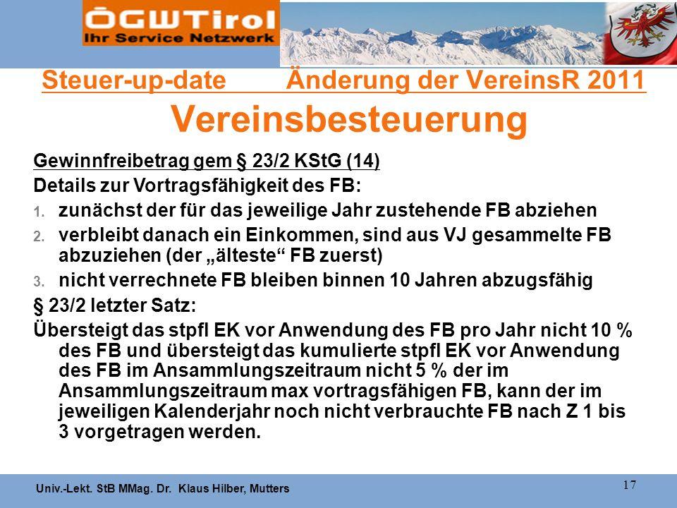 Univ.-Lekt. StB MMag. Dr. Klaus Hilber, Mutters 17 Steuer-up-date Änderung der VereinsR 2011 Vereinsbesteuerung Gewinnfreibetrag gem § 23/2 KStG (14)