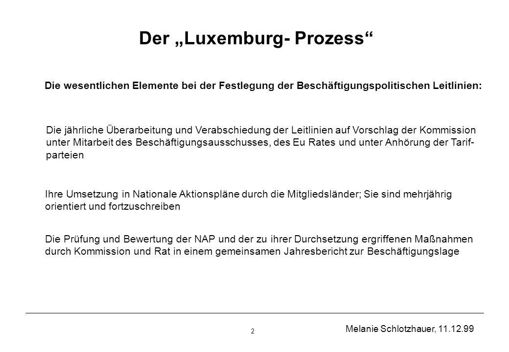 Melanie Schlotzhauer, 11.12.99 2 Der Luxemburg- Prozess Die wesentlichen Elemente bei der Festlegung der Beschäftigungspolitischen Leitlinien: Die jährliche Überarbeitung und Verabschiedung der Leitlinien auf Vorschlag der Kommission unter Mitarbeit des Beschäftigungsausschusses, des Eu Rates und unter Anhörung der Tarif- parteien Ihre Umsetzung in Nationale Aktionspläne durch die Mitgliedsländer; Sie sind mehrjährig orientiert und fortzuschreiben Die Prüfung und Bewertung der NAP und der zu ihrer Durchsetzung ergriffenen Maßnahmen durch Kommission und Rat in einem gemeinsamen Jahresbericht zur Beschäftigungslage