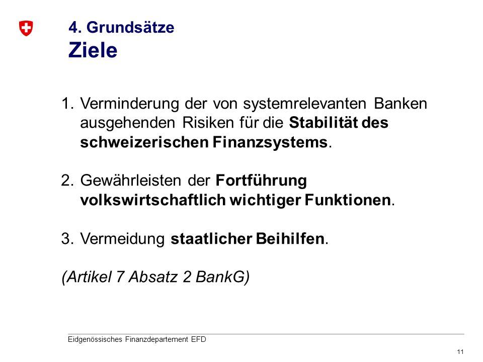 11 Eidgenössisches Finanzdepartement EFD 4. Grundsätze Ziele 1.Verminderung der von systemrelevanten Banken ausgehenden Risiken für die Stabilität des