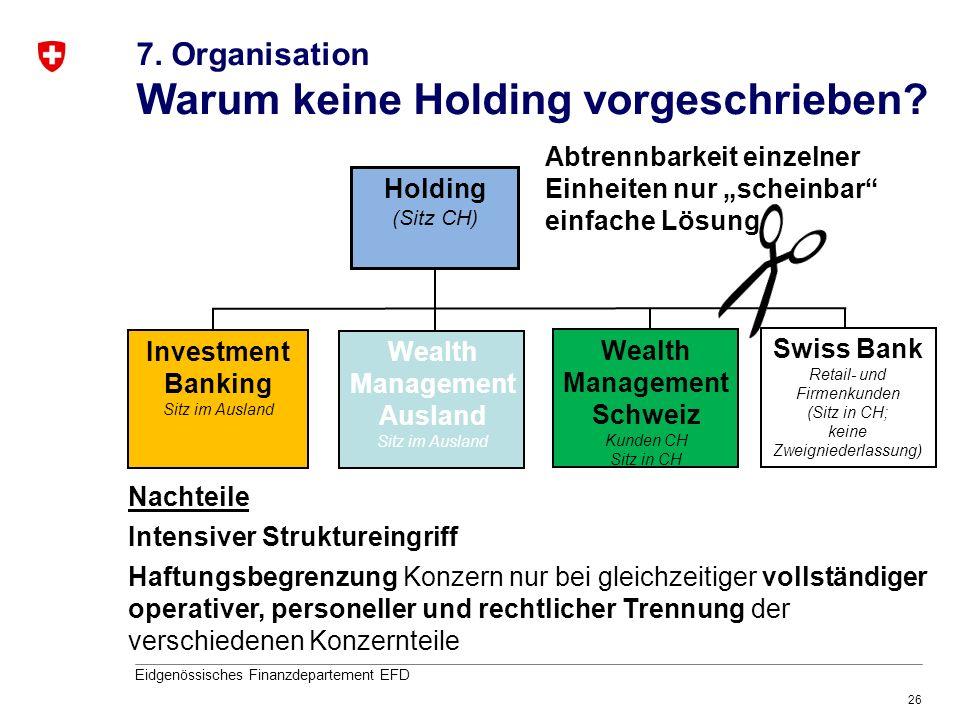 26 Eidgenössisches Finanzdepartement EFD Holding (Sitz CH) Investment Banking Sitz im Ausland Swiss Bank Retail- und Firmenkunden (Sitz in CH; keine Z