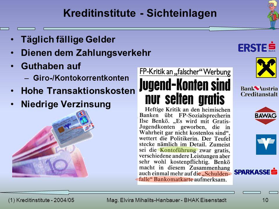 (1) Kreditinstitute - 2004/05Mag. Elvira Mihalits-Hanbauer - BHAK Eisenstadt10 Kreditinstitute - Sichteinlagen Täglich fällige Gelder Dienen dem Zahlu