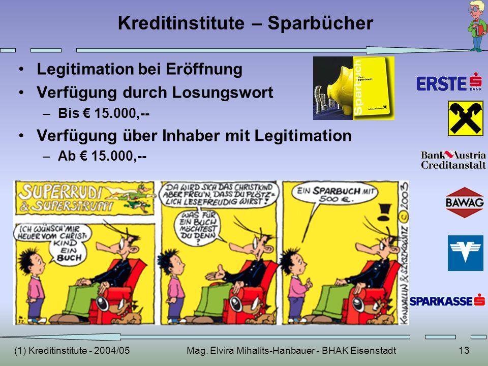 (1) Kreditinstitute - 2004/05Mag. Elvira Mihalits-Hanbauer - BHAK Eisenstadt13 Kreditinstitute – Sparbücher Legitimation bei Eröffnung Verfügung durch