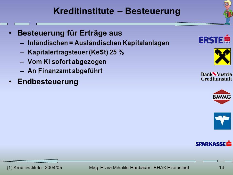 (1) Kreditinstitute - 2004/05Mag. Elvira Mihalits-Hanbauer - BHAK Eisenstadt14 Kreditinstitute – Besteuerung Besteuerung für Erträge aus –Inländischen