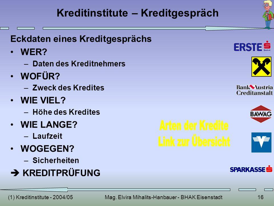 (1) Kreditinstitute - 2004/05Mag. Elvira Mihalits-Hanbauer - BHAK Eisenstadt16 Kreditinstitute – Kreditgespräch Eckdaten eines Kreditgesprächs WER? –D