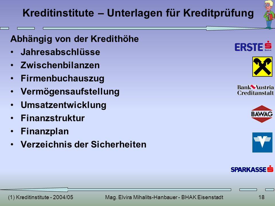 (1) Kreditinstitute - 2004/05Mag. Elvira Mihalits-Hanbauer - BHAK Eisenstadt18 Kreditinstitute – Unterlagen für Kreditprüfung Abhängig von der Kredith