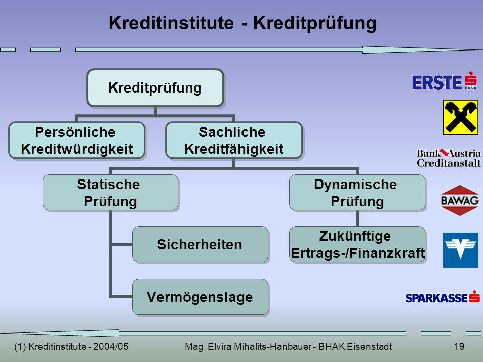 (1) Kreditinstitute - 2004/05Mag. Elvira Mihalits-Hanbauer - BHAK Eisenstadt19 Kreditinstitute - Kreditprüfung Kreditprüfung Persönliche Kreditwürdigk