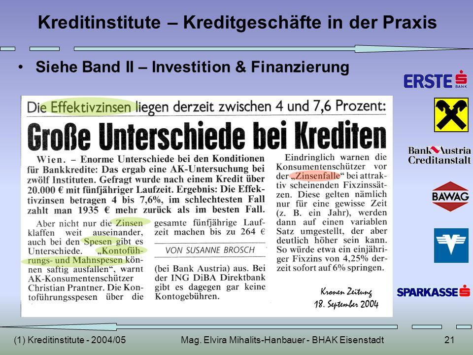 (1) Kreditinstitute - 2004/05Mag. Elvira Mihalits-Hanbauer - BHAK Eisenstadt21 Kreditinstitute – Kreditgeschäfte in der Praxis Siehe Band II – Investi
