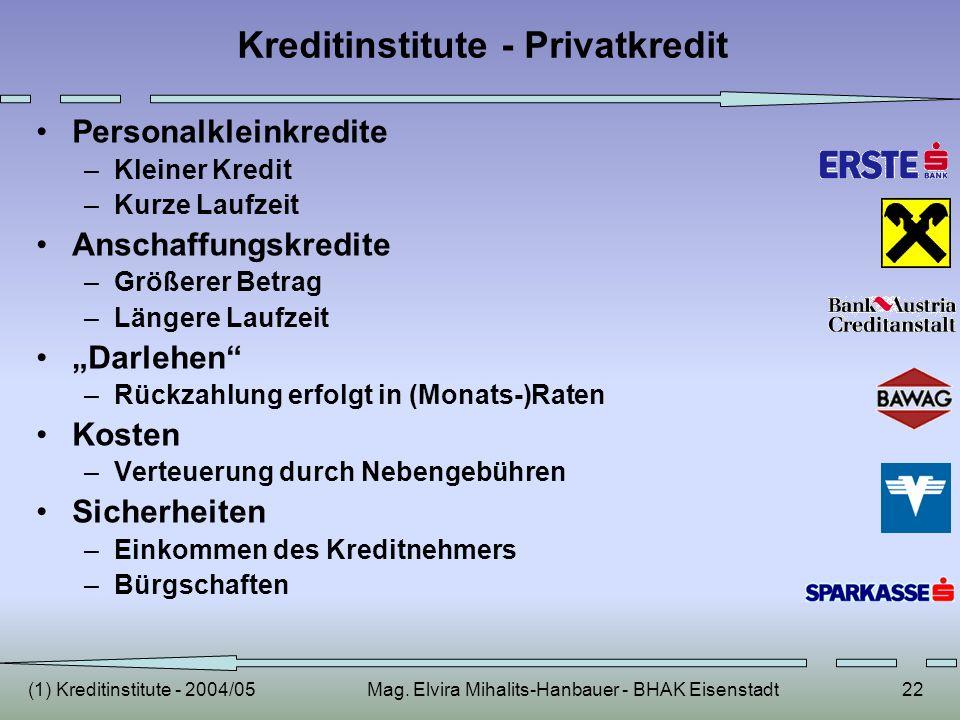(1) Kreditinstitute - 2004/05Mag. Elvira Mihalits-Hanbauer - BHAK Eisenstadt22 Kreditinstitute - Privatkredit Personalkleinkredite –Kleiner Kredit –Ku