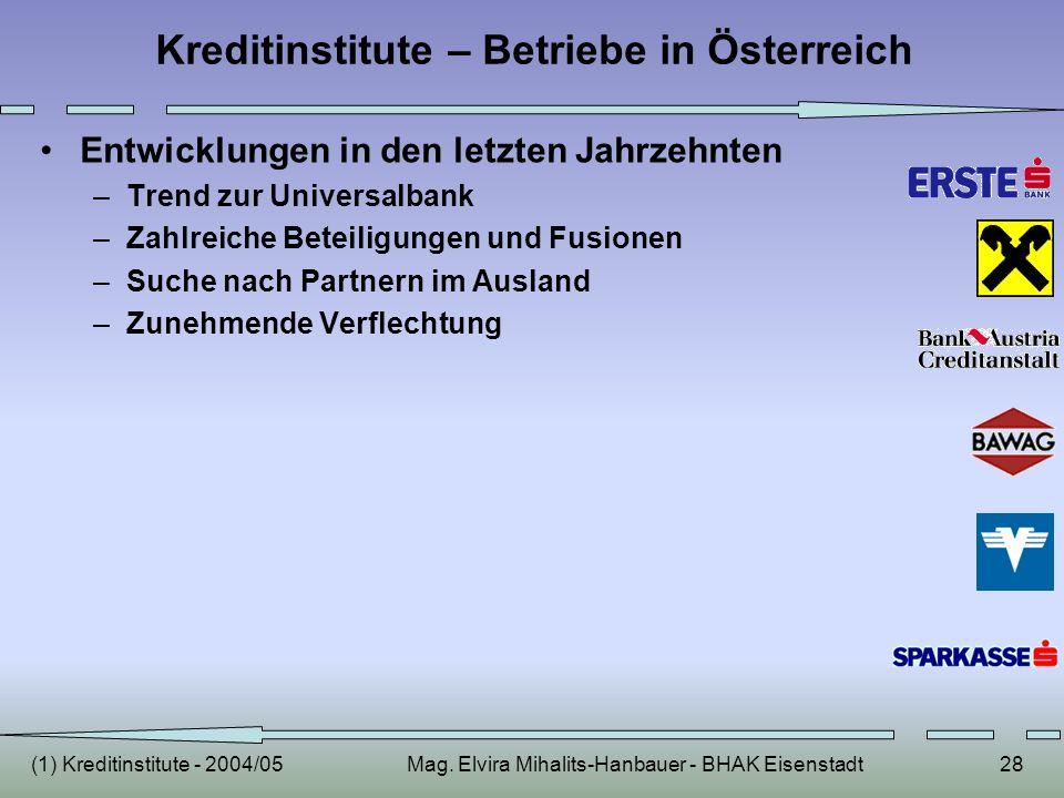 (1) Kreditinstitute - 2004/05Mag. Elvira Mihalits-Hanbauer - BHAK Eisenstadt28 Kreditinstitute – Betriebe in Österreich Entwicklungen in den letzten J