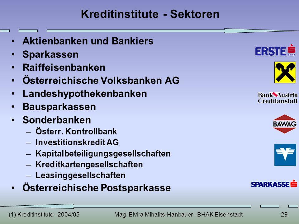 (1) Kreditinstitute - 2004/05Mag. Elvira Mihalits-Hanbauer - BHAK Eisenstadt29 Kreditinstitute - Sektoren Aktienbanken und Bankiers Sparkassen Raiffei