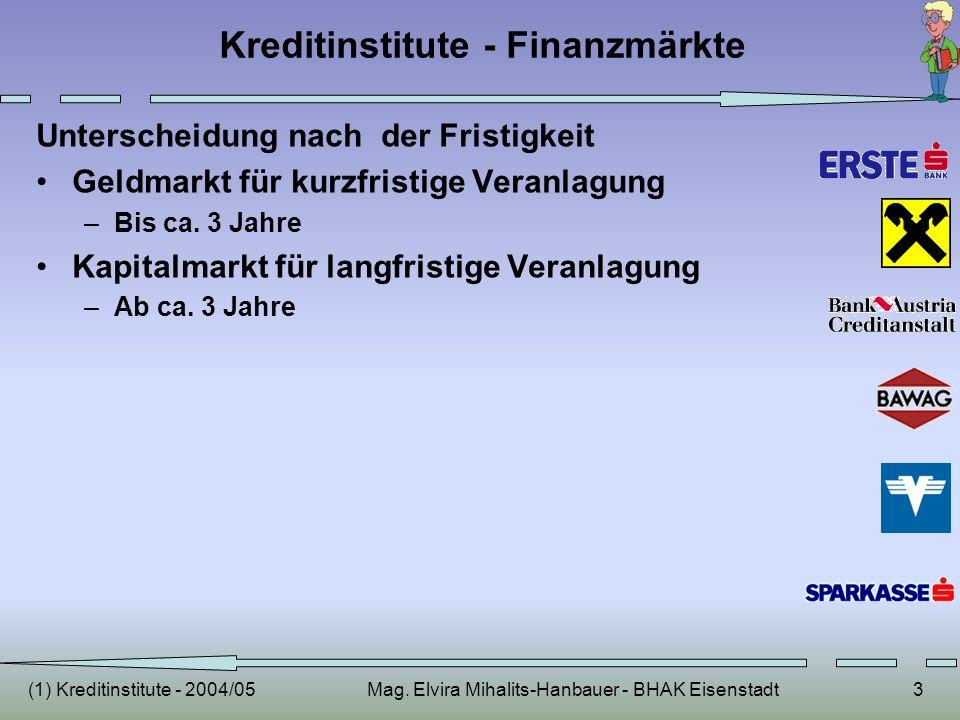 (1) Kreditinstitute - 2004/05Mag. Elvira Mihalits-Hanbauer - BHAK Eisenstadt3 Kreditinstitute - Finanzmärkte Unterscheidung nach der Fristigkeit Geldm