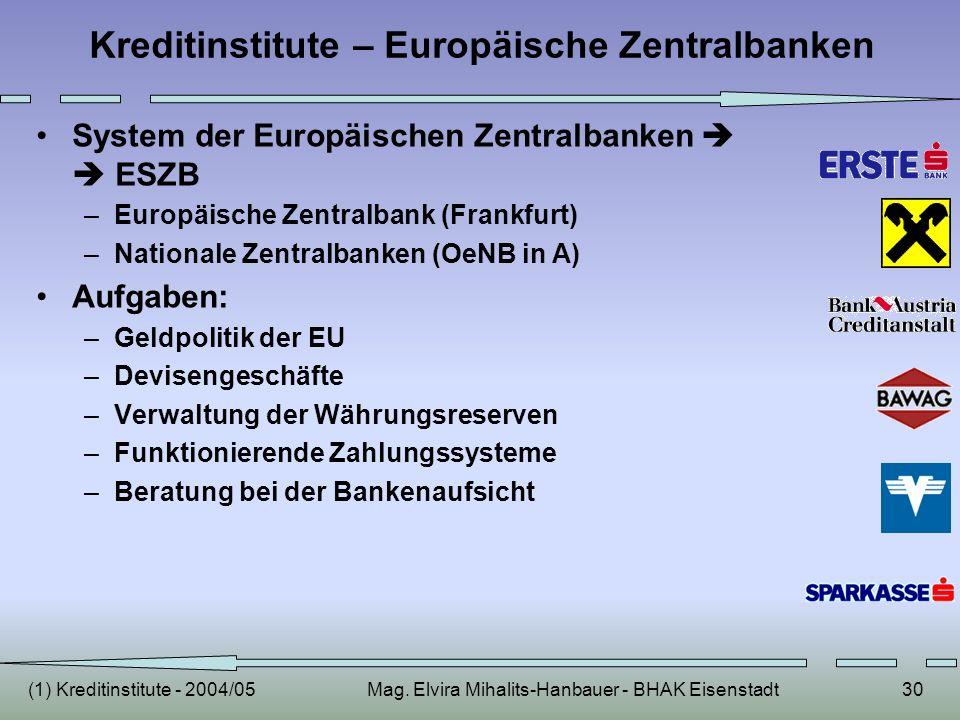 (1) Kreditinstitute - 2004/05Mag. Elvira Mihalits-Hanbauer - BHAK Eisenstadt30 Kreditinstitute – Europäische Zentralbanken System der Europäischen Zen