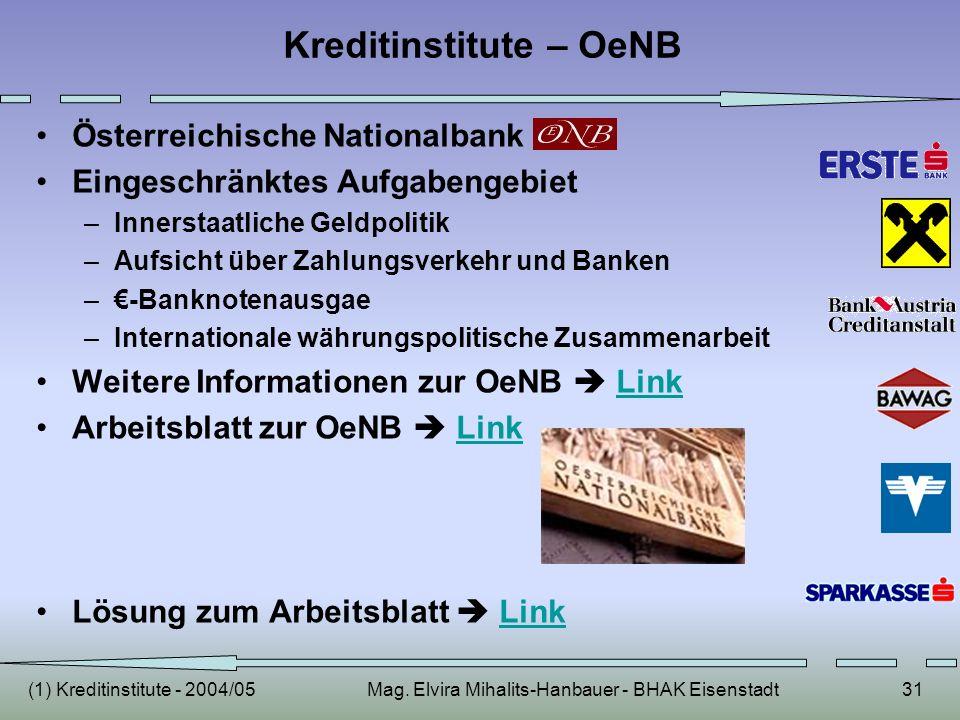 (1) Kreditinstitute - 2004/05Mag. Elvira Mihalits-Hanbauer - BHAK Eisenstadt31 Kreditinstitute – OeNB Österreichische Nationalbank Eingeschränktes Auf