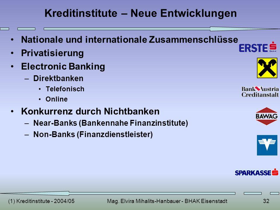 (1) Kreditinstitute - 2004/05Mag. Elvira Mihalits-Hanbauer - BHAK Eisenstadt32 Kreditinstitute – Neue Entwicklungen Nationale und internationale Zusam