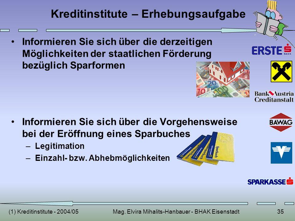 (1) Kreditinstitute - 2004/05Mag. Elvira Mihalits-Hanbauer - BHAK Eisenstadt35 Kreditinstitute – Erhebungsaufgabe Informieren Sie sich über die derzei
