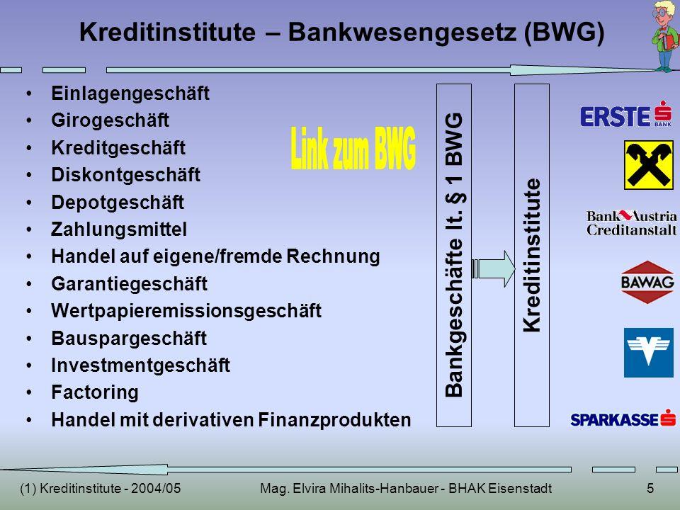 (1) Kreditinstitute - 2004/05Mag. Elvira Mihalits-Hanbauer - BHAK Eisenstadt5 Kreditinstitute – Bankwesengesetz (BWG) Einlagengeschäft Girogeschäft Kr