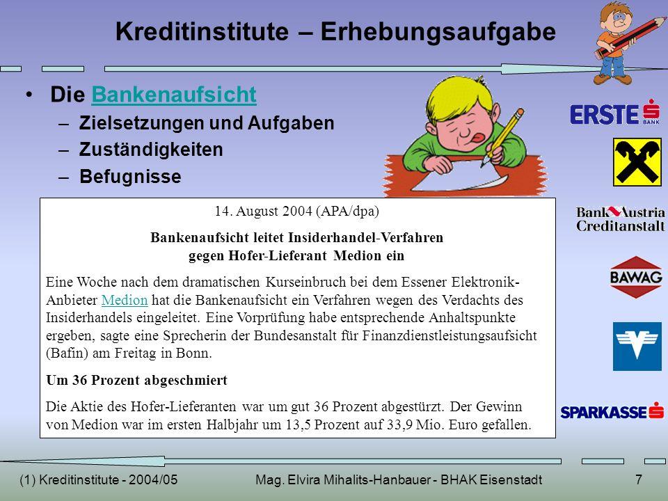 (1) Kreditinstitute - 2004/05Mag. Elvira Mihalits-Hanbauer - BHAK Eisenstadt7 Kreditinstitute – Erhebungsaufgabe Die BankenaufsichtBankenaufsicht –Zie