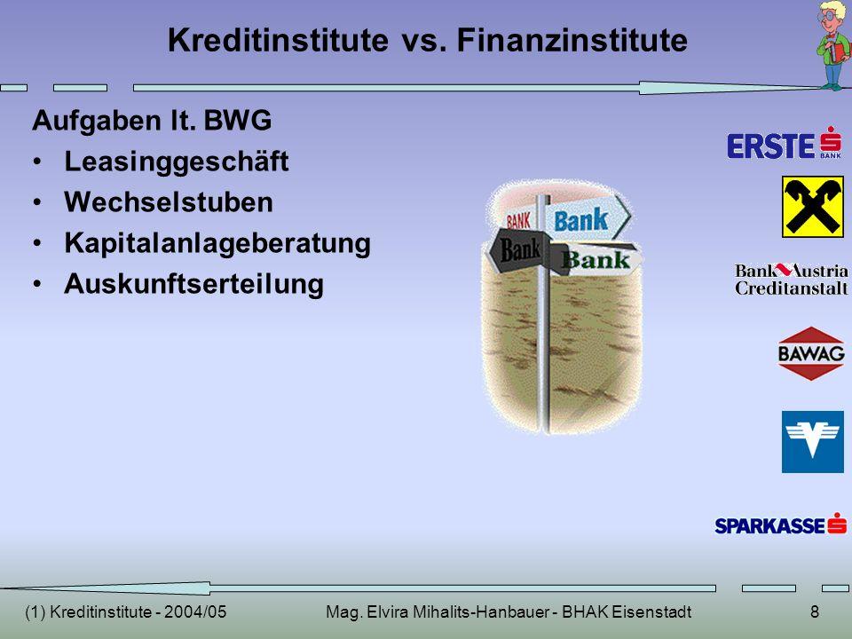 (1) Kreditinstitute - 2004/05Mag. Elvira Mihalits-Hanbauer - BHAK Eisenstadt8 Kreditinstitute vs. Finanzinstitute Aufgaben lt. BWG Leasinggeschäft Wec