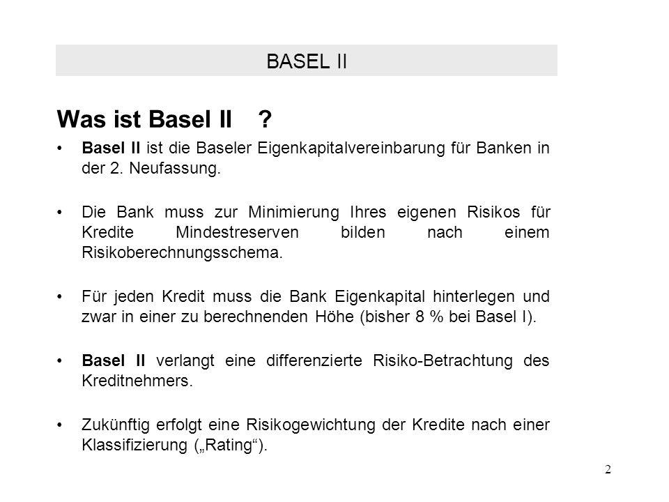 2 Was ist Basel II? Basel II ist die Baseler Eigenkapitalvereinbarung für Banken in der 2. Neufassung. Die Bank muss zur Minimierung Ihres eigenen Ris