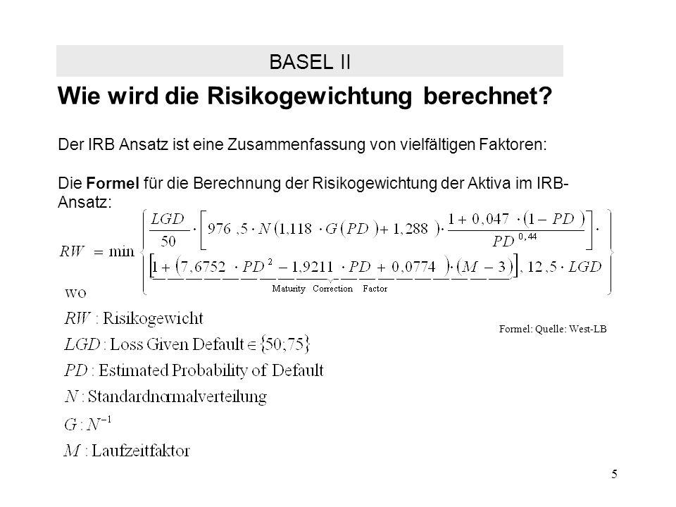 5 Wie wird die Risikogewichtung berechnet? Der IRB Ansatz ist eine Zusammenfassung von vielfältigen Faktoren: Die Formel für die Berechnung der Risiko