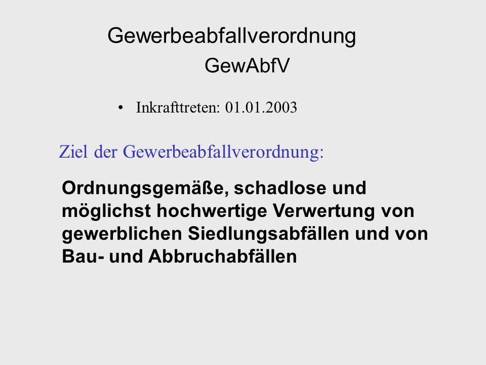 Gewerbeabfallverordnung GewAbfV Inkrafttreten: 01.01.2003 Ziel der Gewerbeabfallverordnung: Ordnungsgemäße, schadlose und möglichst hochwertige Verwer