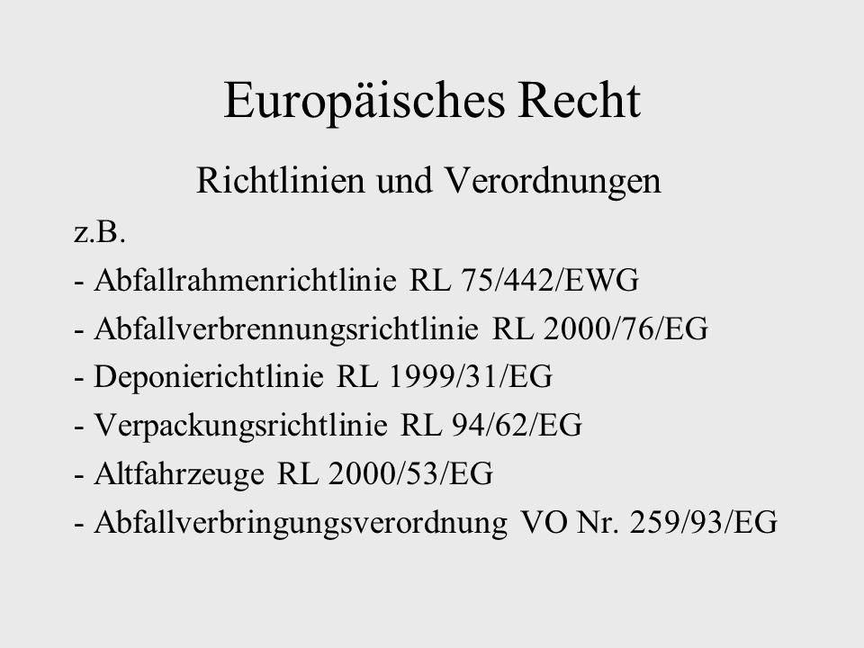 Europäisches Recht Richtlinien und Verordnungen z.B. - Abfallrahmenrichtlinie RL 75/442/EWG - Abfallverbrennungsrichtlinie RL 2000/76/EG - Deponierich
