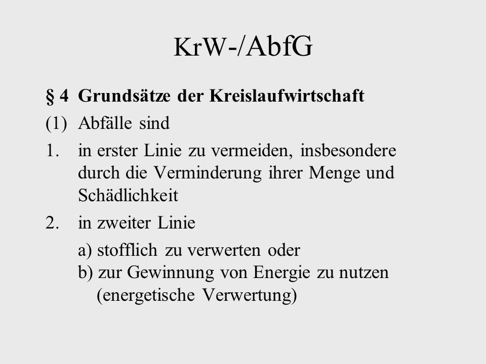 KrW -/AbfG § 4Grundsätze der Kreislaufwirtschaft (1)Abfälle sind 1.in erster Linie zu vermeiden, insbesondere durch die Verminderung ihrer Menge und S