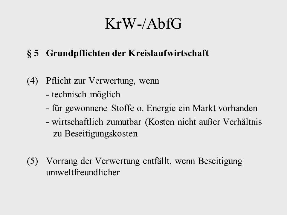 KrW-/AbfG § 5 Grundpflichten der Kreislaufwirtschaft (4)Pflicht zur Verwertung, wenn - technisch möglich - für gewonnene Stoffe o. Energie ein Markt v