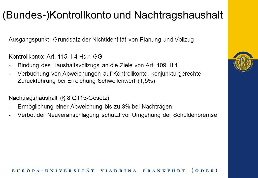 (Bundes-)Kontrollkonto und Nachtragshaushalt Ausgangspunkt: Grundsatz der Nichtidentität von Planung und Vollzug Kontrollkonto: Art. 115 II 4 Hs.1 GG
