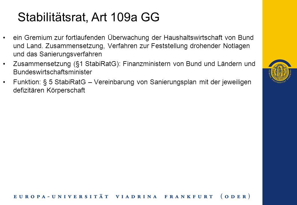 Stabilitätsrat, Art 109a GG ein Gremium zur fortlaufenden Überwachung der Haushaltswirtschaft von Bund und Land. Zusammensetzung, Verfahren zur Festst