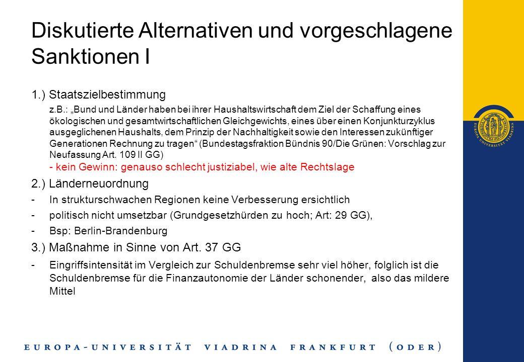 Diskutierte Alternativen und vorgeschlagene Sanktionen I 1.) Staatszielbestimmung z.B.: Bund und Länder haben bei ihrer Haushaltswirtschaft dem Ziel d