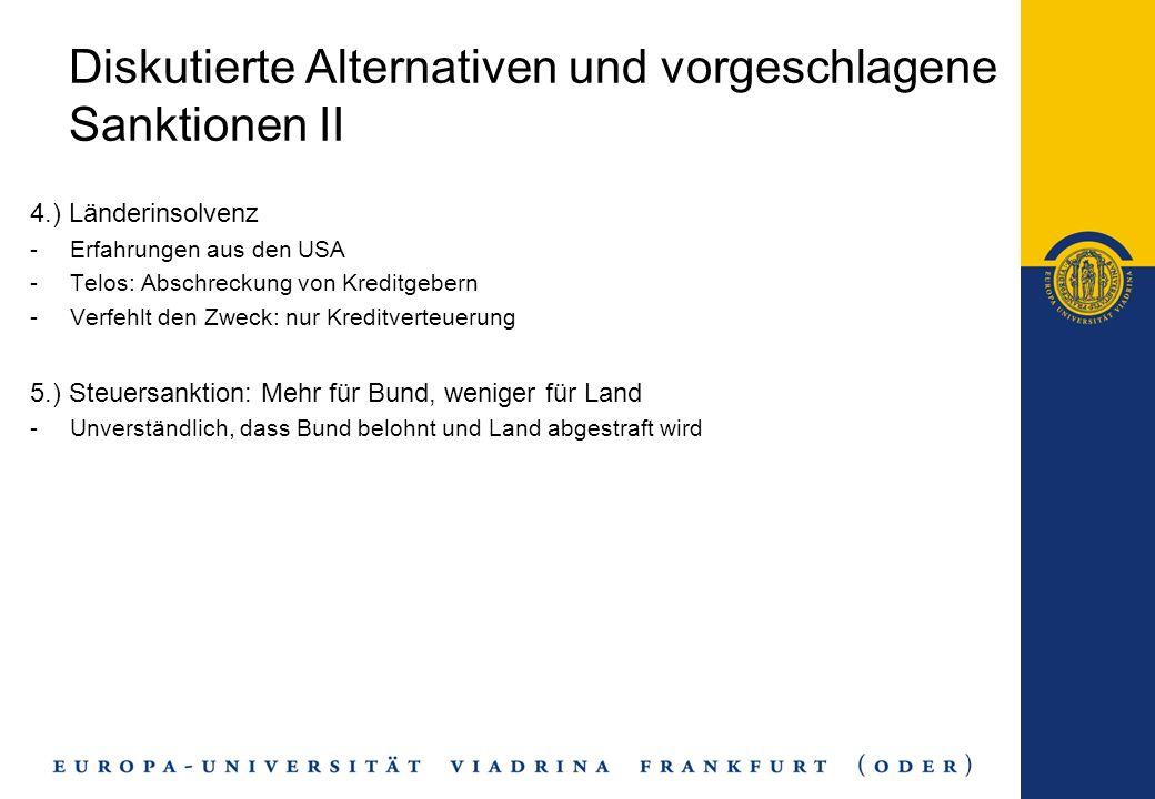 Diskutierte Alternativen und vorgeschlagene Sanktionen II 4.) Länderinsolvenz -Erfahrungen aus den USA -Telos: Abschreckung von Kreditgebern -Verfehlt