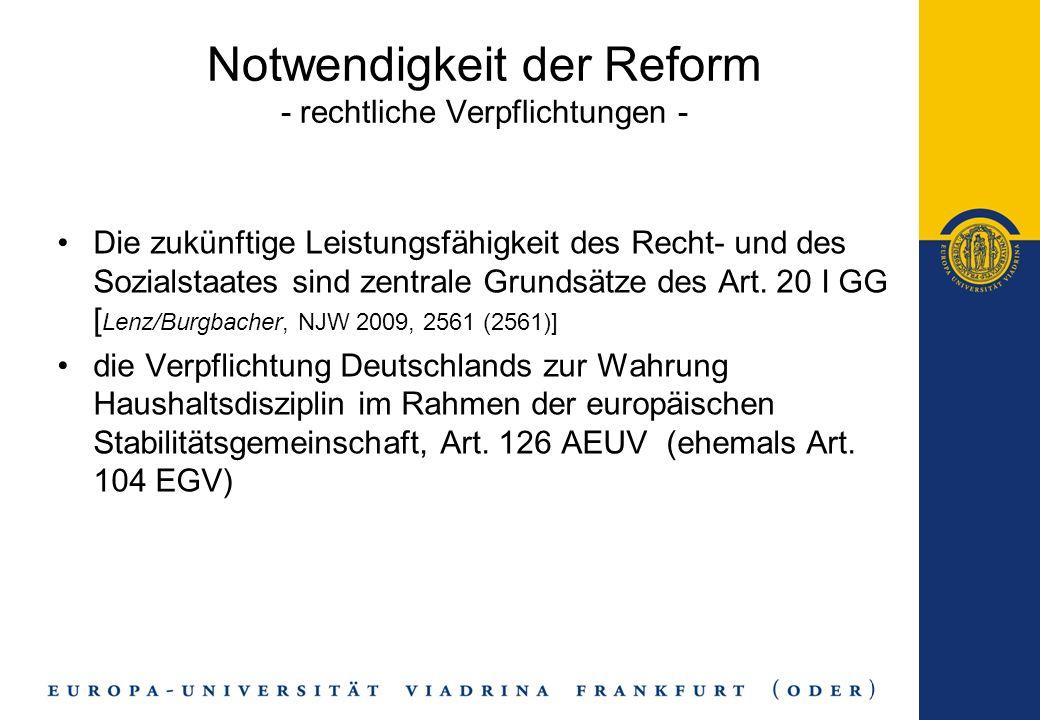 Die zukünftige Leistungsfähigkeit des Recht- und des Sozialstaates sind zentrale Grundsätze des Art. 20 I GG [ Lenz/Burgbacher, NJW 2009, 2561 (2561)]