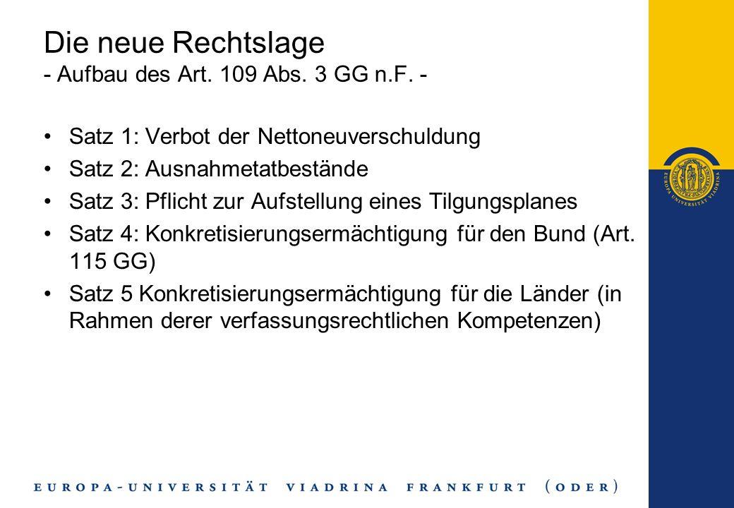 Errungenschaften der Reform Allg.: - Ausgangspunkt: erste Erfolge in der Schweiz -Die Bestimmung der Verfassungsmäßigkeit des jeweiligen Haushaltes ist jetzt tatbestandlich klarer geregelt und damit der Rechtsanwendung zugänglicher -materielle Verpflichtung zum ausgeglichenen HH Bund: -Verabschiedung von Kreditaufnahme in Höhe der Investitionen -Kontrolle des Haushaltsvollzuges (Kontroll-Konto, Nachtrags-HH) -grds.