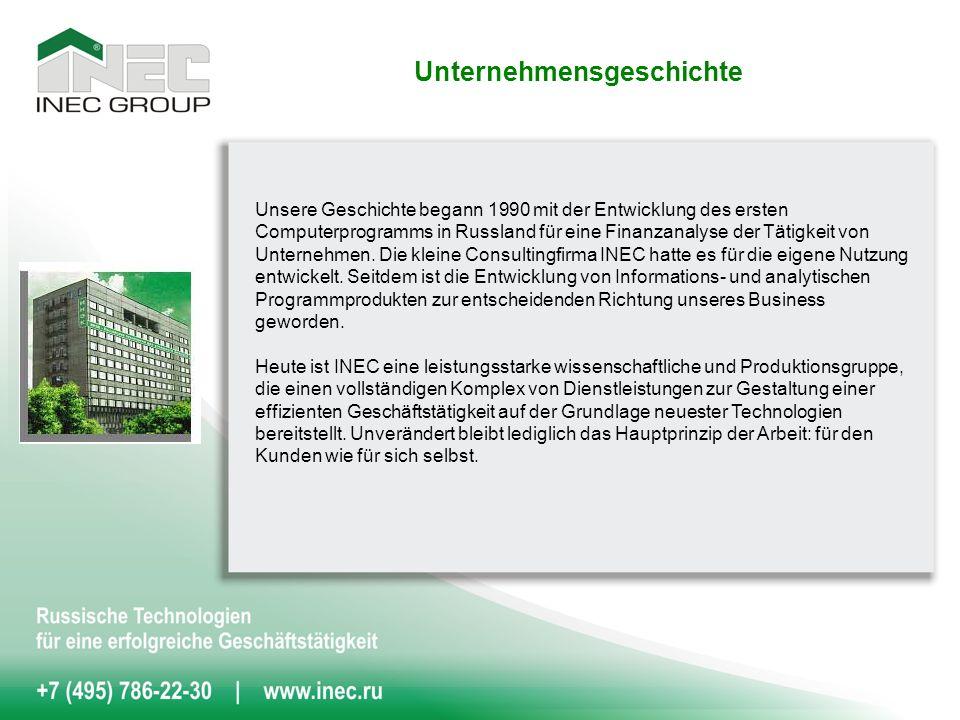 Über 40.000 Kunden in 150 Städten Russlands haben sich für Informationstechnologien, das Consulting, Audit und eine Business-Ausbildung von der Gruppe INEC entschieden.