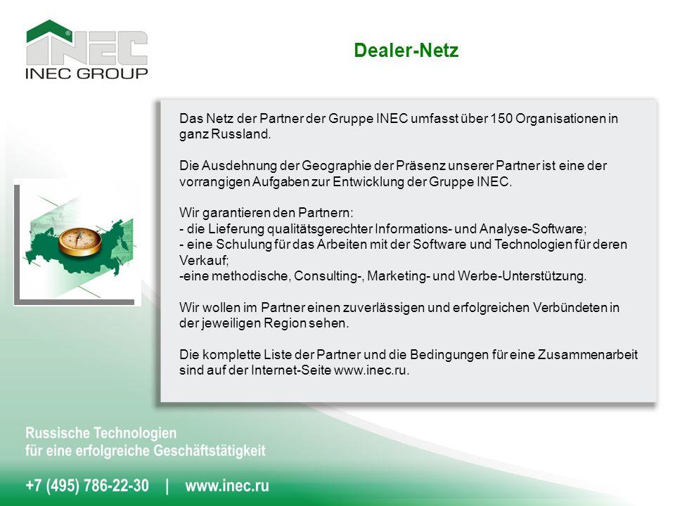 Dealer-Netz Das Netz der Partner der Gruppe INEC umfasst über 150 Organisationen in ganz Russland.