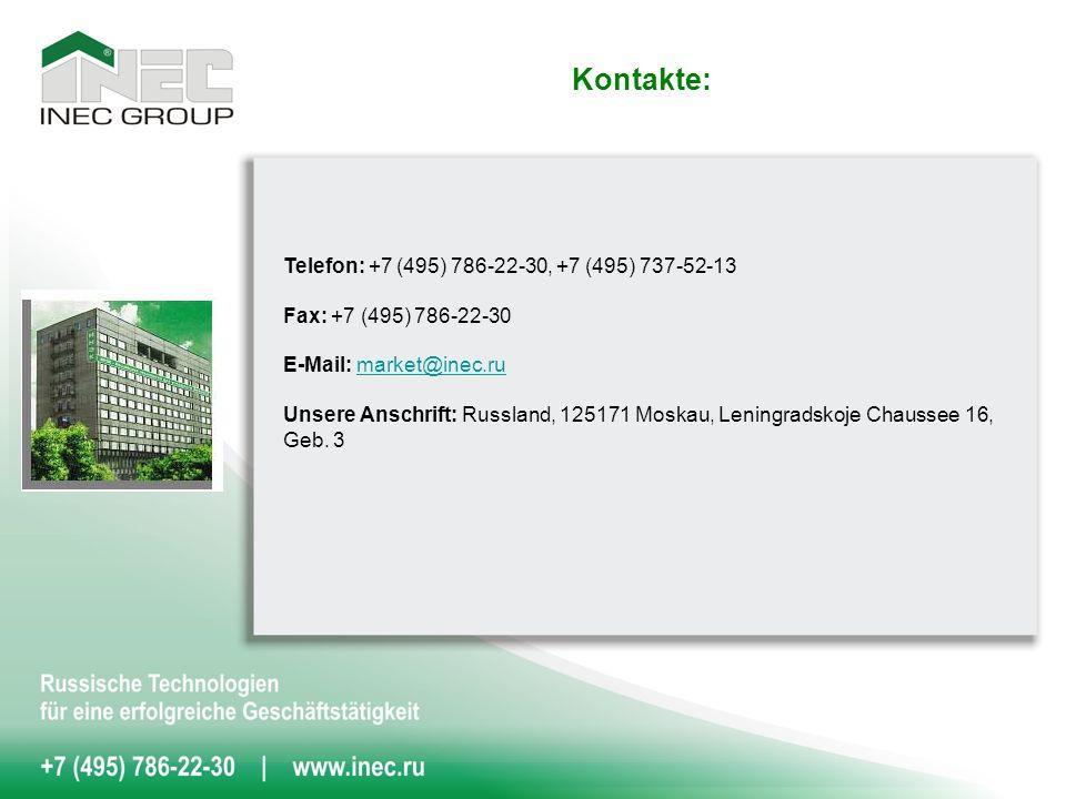 Kontakte: Telefon: +7 (495) 786-22-30, +7 (495) 737-52-13 Fax: +7 (495) 786-22-30 E-Mail: market@inec.rumarket@inec.ru Unsere Anschrift: Russland, 125171 Moskau, Leningradskoje Chaussee 16, Geb.