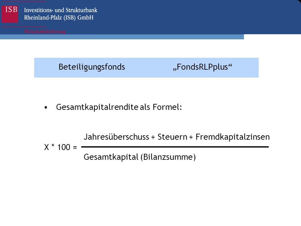 BeteiligungsfondsFondsRLPplus Gesamtkapitalrendite als Formel: X * 100 = Jahresüberschuss + Steuern + Fremdkapitalzinsen Gesamtkapital (Bilanzsumme)