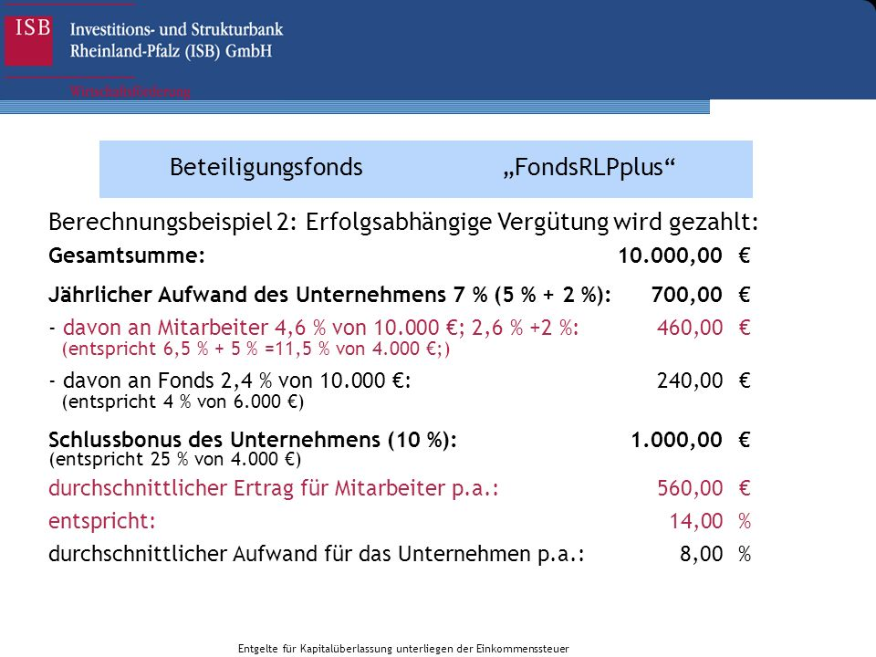 BeteiligungsfondsFondsRLPplus Gesamtsumme:10.000,00 Jährlicher Aufwand des Unternehmens 7 % (5 % + 2 %):700,00 - davon an Mitarbeiter 4,6 % von 10.000