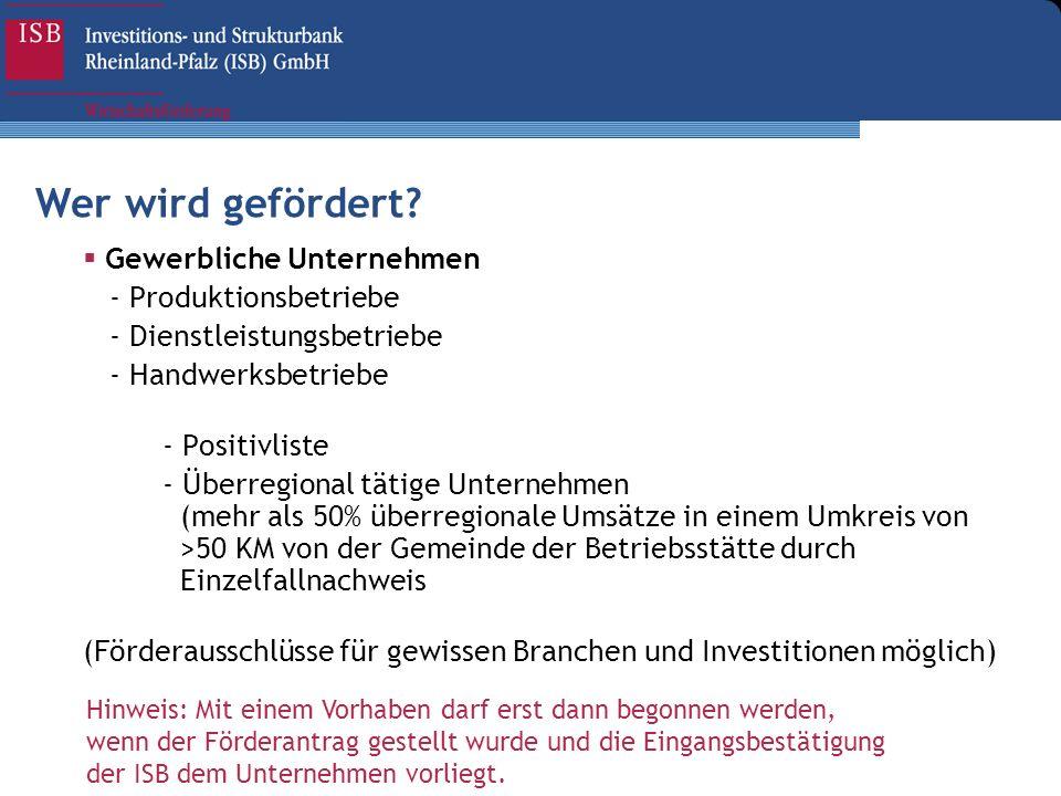 Gewerbliche Unternehmen - Produktionsbetriebe - Dienstleistungsbetriebe - Handwerksbetriebe - Positivliste - Überregional tätige Unternehmen (mehr als