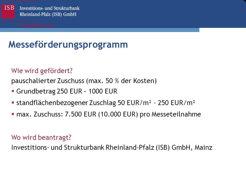 Wie wird gefördert? pauschalierter Zuschuss (max. 50 % der Kosten) Grundbetrag 250 EUR – 1000 EUR standflächenbezogener Zuschlag 50 EUR/m² - 250 EUR/m