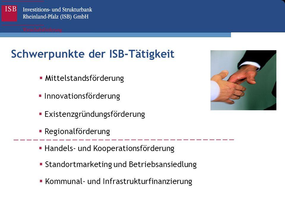 Schwerpunkte der ISB-Tätigkeit Regionalförderung Existenzgründungsförderung Innovationsförderung Mittelstandsförderung Handels- und Kooperationsförder
