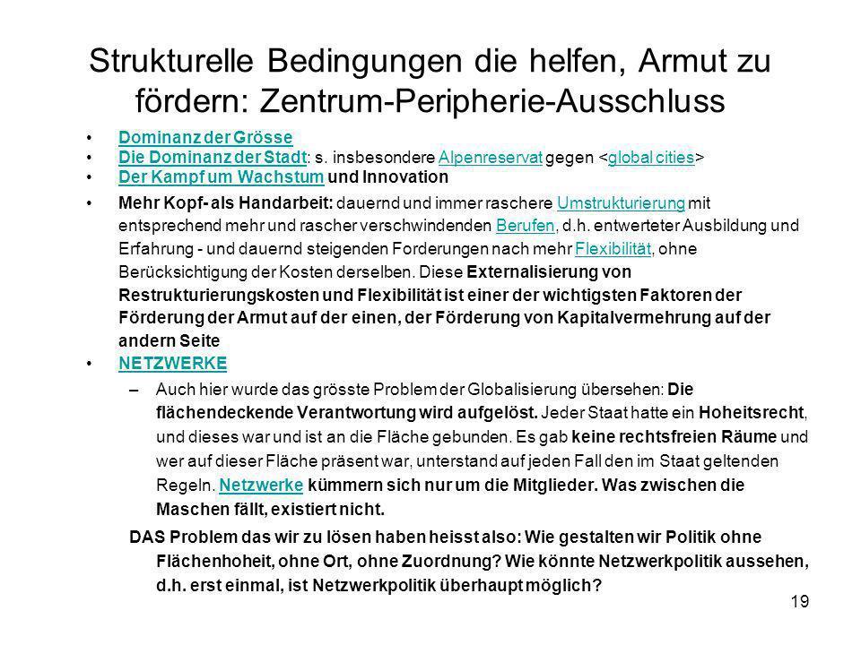 19 Strukturelle Bedingungen die helfen, Armut zu fördern: Zentrum-Peripherie-Ausschluss Dominanz der Grösse Die Dominanz der Stadt: s. insbesondere Al