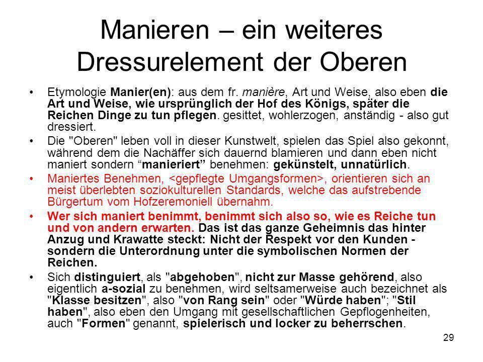 29 Manieren – ein weiteres Dressurelement der Oberen Etymologie Manier(en): aus dem fr. manière, Art und Weise, also eben die Art und Weise, wie urspr