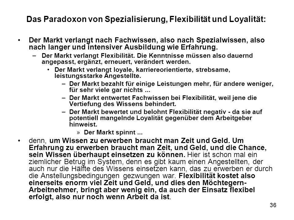 36 Das Paradoxon von Spezialisierung, Flexibilität und Loyalität: Der Markt verlangt nach Fachwissen, also nach Spezialwissen, also nach langer und in